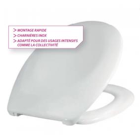 Abattant double ESTEREL Classic blanc - NF - Bactéricide - charnières inox.