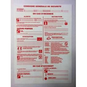 """Panneau rigide Blanc/Rouge L290 x H210 """"CONSIGNE GENERALE DE SECURITE"""""""