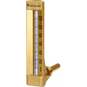 Thermomètre Industrie Equerre 0 à 120°C H.150 Pl.63 mm