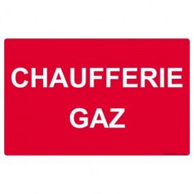 """Etiquette rigide Rouge/Blanc L200 x H100 """"CHAUFFERIE GAZ"""""""