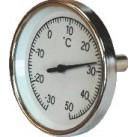 "Thermomètre plongeur AXIAL 0-120°C 1/2"" diam.80 Lg.100"